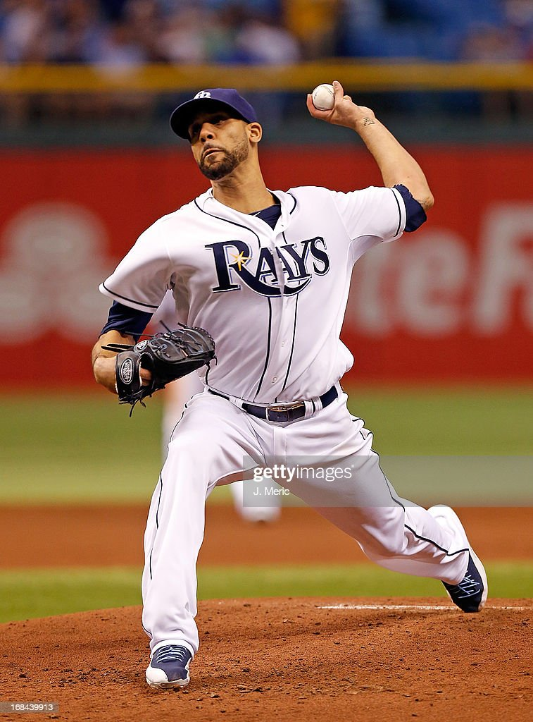 Pitcher David Price #14 of the Tampa Bay Rays pitches against the Toronto Blue Jays during the game at Tropicana Field on May 9, 2013 in St. Petersburg, Florida.