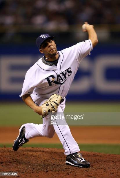 Pitcher David Price of the Tampa Bay Rays pitches in the ninth inning of game one of the American League Championship Series against the Boston Red...