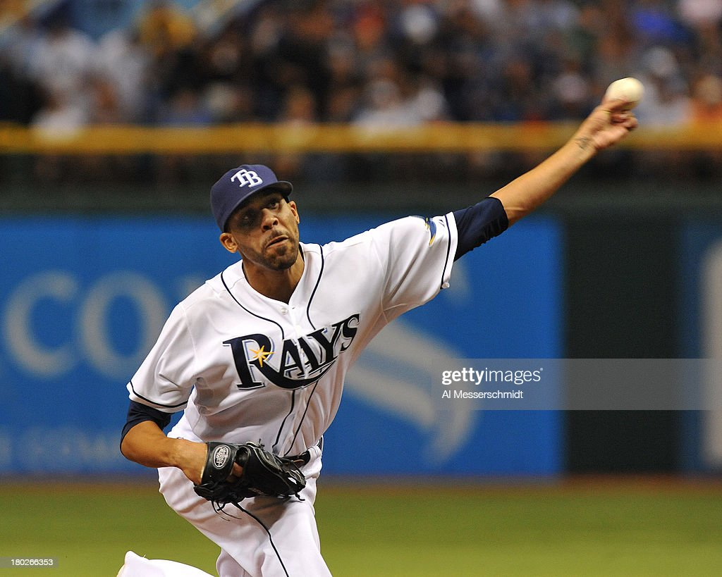 Pitcher <a gi-track='captionPersonalityLinkClicked' href=/galleries/search?phrase=David+Price+-+Baseball+Player&family=editorial&specificpeople=4961936 ng-click='$event.stopPropagation()'>David Price</a> #14 of the Tampa Bay Rays starts against the Boston Red Sox September 10, 2013 at Tropicana Field in St. Petersburg, Florida. Price gave up 3 hits in 8 innings and Boston won 2 - 0.