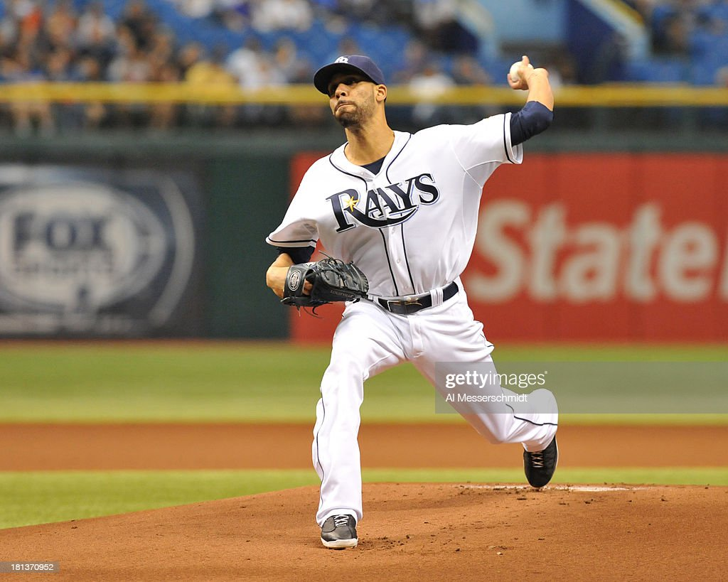 Pitcher David Price #14 of the Tampa Bay Rays starts against the Baltimore Orioles September 20, 2013 at Tropicana Field in St. Petersburg, Florida.
