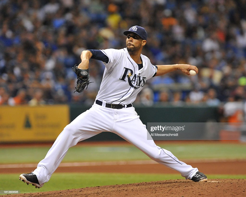 Pitcher <a gi-track='captionPersonalityLinkClicked' href=/galleries/search?phrase=David+Price+-+Baseball+Player&family=editorial&specificpeople=4961936 ng-click='$event.stopPropagation()'>David Price</a> #14 of the Tampa Bay Rays starts against the Baltimore Orioles September 20, 2013 at Tropicana Field in St. Petersburg, Florida.