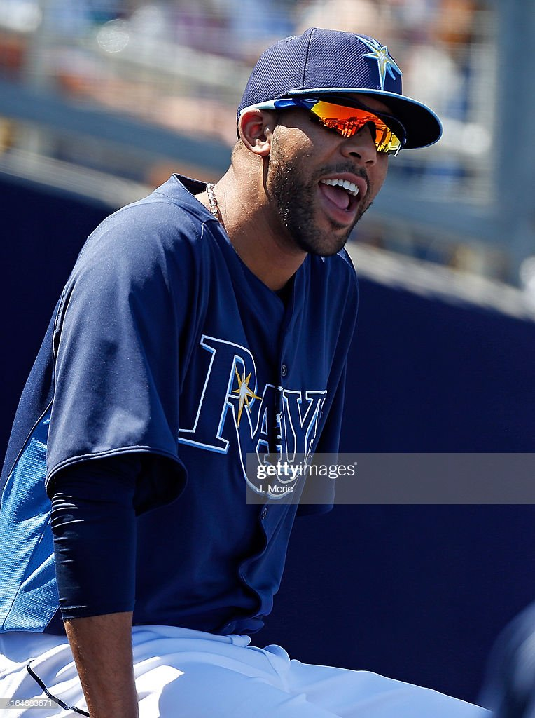 Pitcher David Price #14 of the Tampa Bay Rays watches his team against the Boston Red Sox during a Grapefruit League Spring Training Game at the Charlotte Sports Complex on March 16, 2013 in Port Charlotte, Florida.