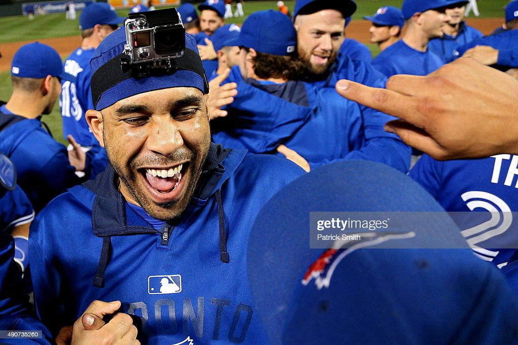 Pitcher David Price of the Toronto Blue Jays and teammates celebrate after defeating the Baltimore Orioles and clinching the AL East Division during...