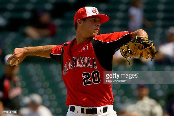 Pitcher David Renfroe of the Team One team throws against the Baseball Factory team the Under Armour AllAmerica Baseball Game at Wrigley Field August...