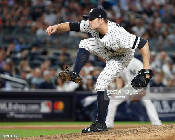 Pitcher David Robertson of the New York Yankees pitches in game 3 of the American League division series MLB game against the Cleveland Indians on...