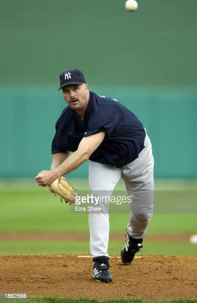 Pitcher David Wells of the New York Yankees throws a pitch against the Philadelphia Phillies in a spring training game on February 28 2003 at Jack...