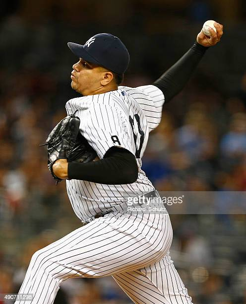 Pitcher Dellin Betances of the New York Yankees in action against the Chicago White Sox during a MLB baseball game at Yankee Stadium on September 24...