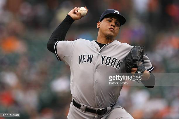 Pitcher Dellin Betances of the New York Yankees works the ninth inning against the Baltimore Orioles at Oriole Park at Camden Yards on June 14 2015...