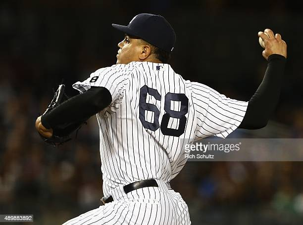 Pitcher Dellin Betances the New York Yankees delivers a pitch against the Chicago White Sox during the eighth inning of a MLB baseball game at Yankee...