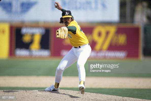 Pitcher Dennis Eckersley of the Oakland A's delivers a pitch during a Spring Training game in March 1987 in Phoenix Arizona