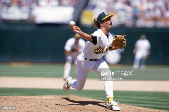 Pitcher Dennis Eckersley of the Oakland Athletics delivers against the Milwaukee Brewers during the game at the OaklandAlameda County Coliseum on...