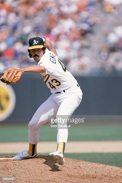 Pitcher Dennis Eckersley of the Oakland Athletics delivers during the 1989 season game at the OaklandAlameda County Coliseum in Oakland California