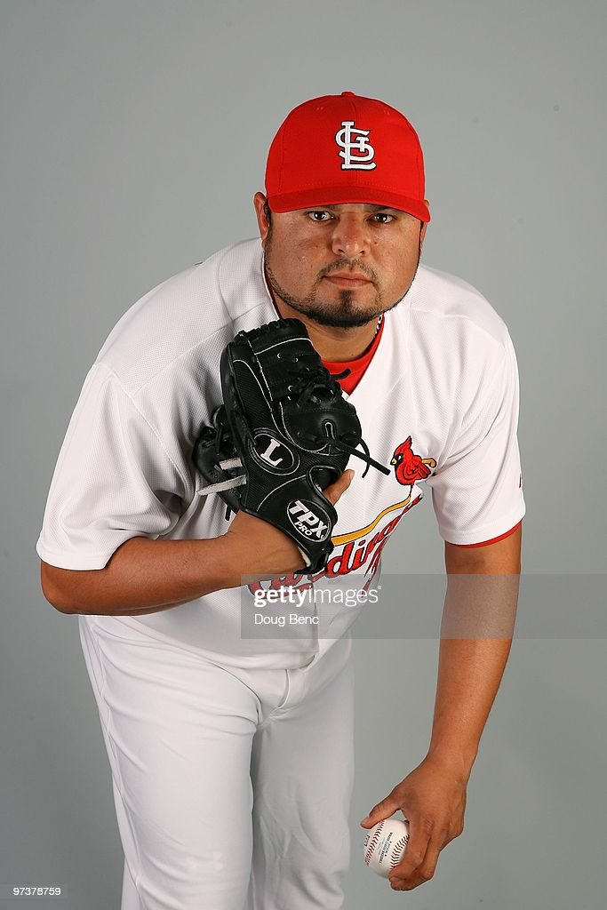 Pitcher Dennys Reyes #36 of the St. Louis Cardinals during photo day at Roger Dean Stadium on March 1, 2010 in Jupiter, Florida.