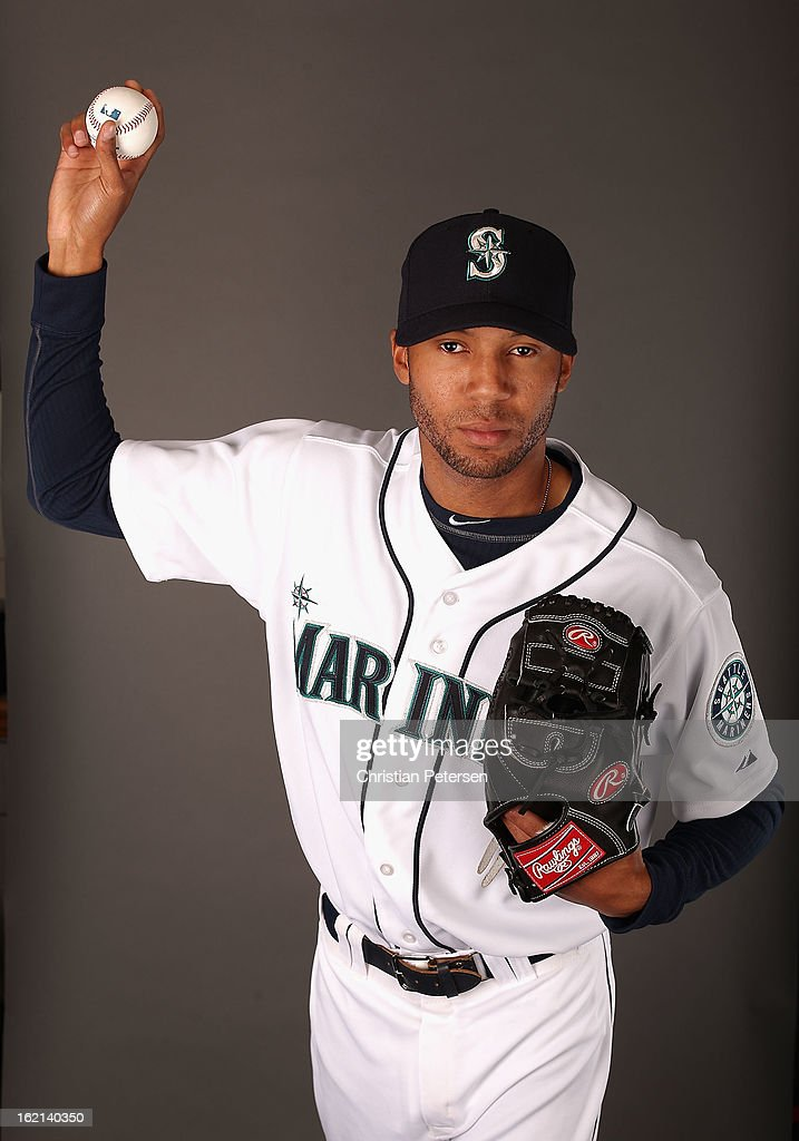 Pitcher D.J. Mitchell #40 of the Seattle Mariners poses for a portrait during spring training photo day at Peoria Stadium on February 19, 2013 in Peoria, Arizona.