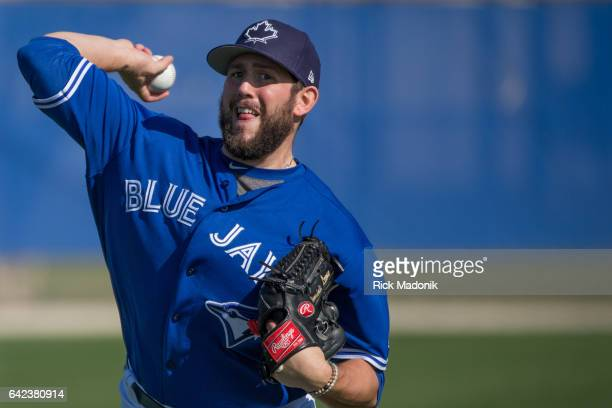 Pitcher Dominic Leone loosens up Toronto Blue Jays continue the preparations for the upcoming Grapefruit season at Bobby Mattick Training Centre...