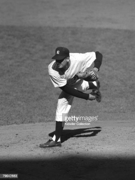 Pitcher Don Larsen of the New York Yankees follows through on a pitch during game 5 of the World Series on October 8 1956 against the Brooklyn...