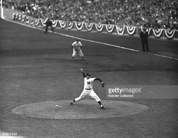Pitcher Don Larsen of the New York Yankees throws a pitch during the fifth game of the World Series on October 8 1956 against the Brooklyn Dodgers at...