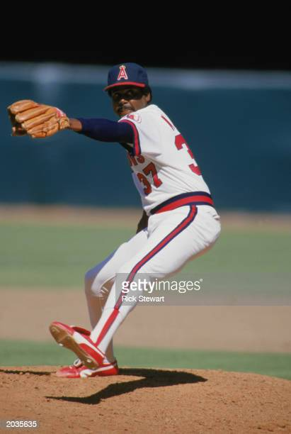 Pitcher Donnie Moore of the California Angels delivers the pitch in a game at Anaheim Stadium during the 1988 season in Anaheim California