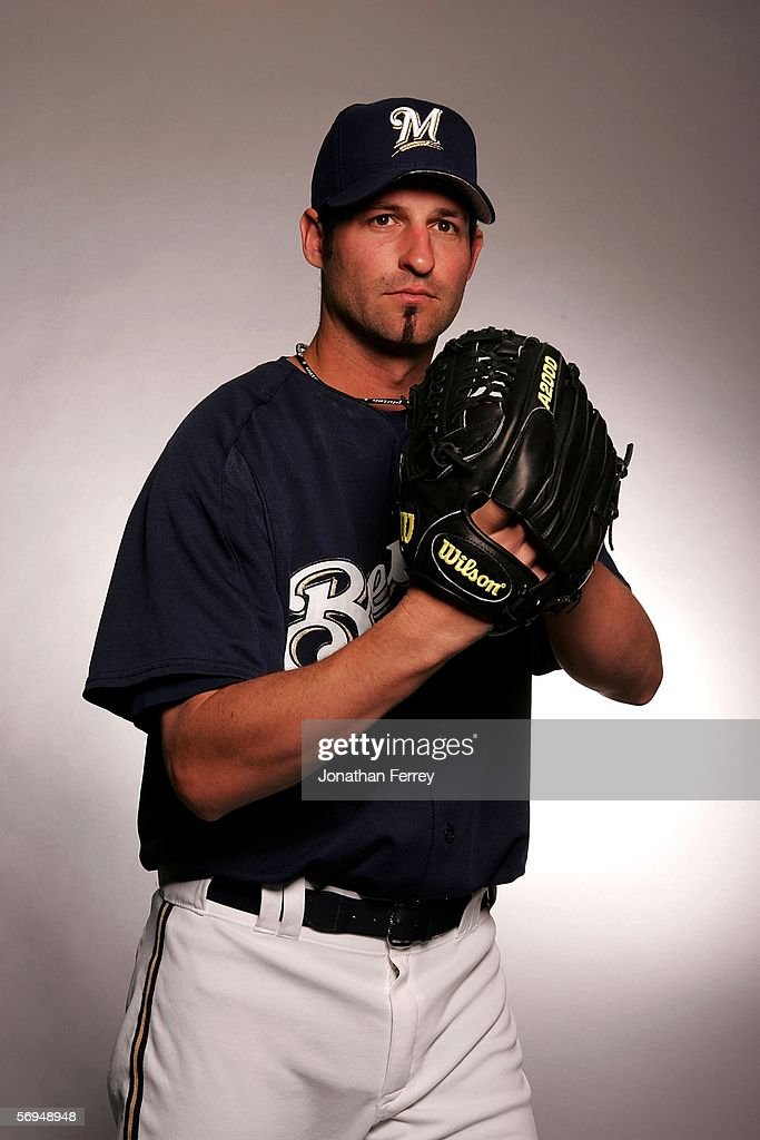 Pitcher <a gi-track='captionPersonalityLinkClicked' href=/galleries/search?phrase=Doug+Davis+-+Baseball+Pitcher&family=editorial&specificpeople=15809391 ng-click='$event.stopPropagation()'>Doug Davis</a> #49 of the Milwaukee Brewers poses for a portrait during the Milwaukee Brewers Photo Day on February 27, 2006 at Maryvale Stadium in Maryvale, Arizona.