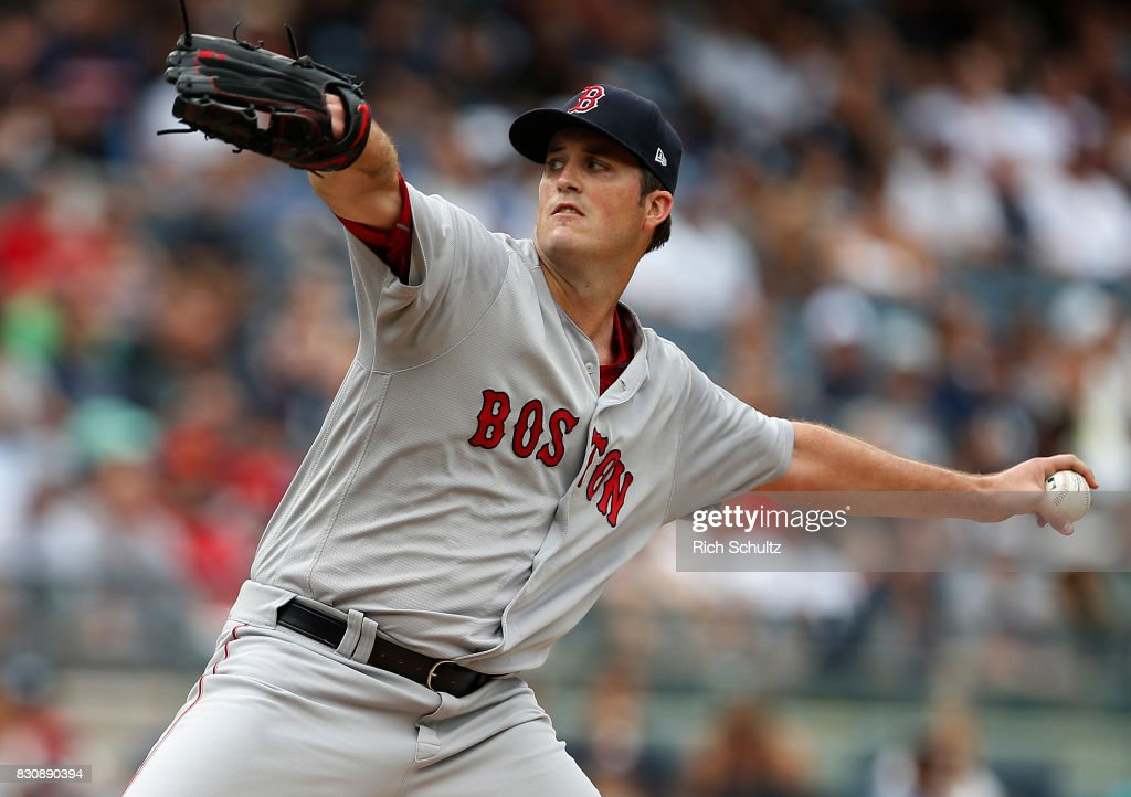 Pitcher Drew Pomeranz #31 of the Boston Red Sox delivers a pitch against the New York Yankees during the first inning of a game at Yankee Stadium on August 12, 2017 in the Bronx borough of New York City. The Red Sox defeated the Yankees 10-5.