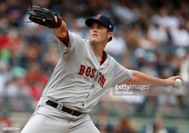 Pitcher Drew Pomeranz of the Boston Red Sox delivers a pitch against the New York Yankees during the first inning of a game at Yankee Stadium on...
