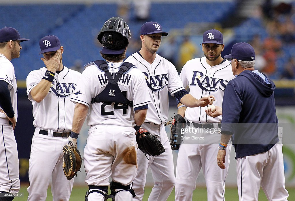 Pitcher Drew Smyly #33 of the Tampa Bay Rays hands the ball to manager Joe Maddon #70 after being taken out of the game him during the sixth inning of a game against the Boston Red Sox on September 1, 2014 at Tropicana Field in St. Petersburg, Florida.