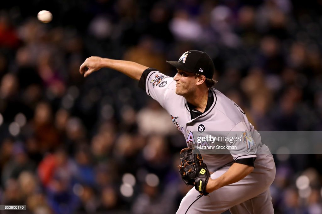 Pitcher Drew Steckenrider #71 of the Miami Marlins throws in the eighth inning against the Colorado Rockies at Coors Field on September 25, 2017 in Denver, Colorado.
