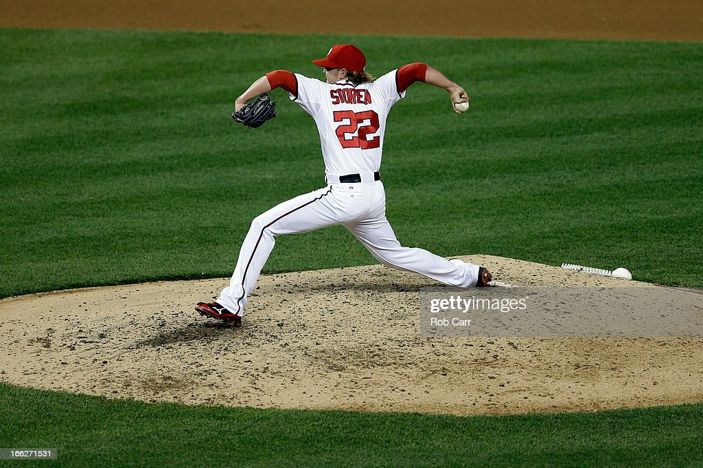 Pitcher <a gi-track='captionPersonalityLinkClicked' href=/galleries/search?phrase=Drew+Storen&family=editorial&specificpeople=5926519 ng-click='$event.stopPropagation()'>Drew Storen</a> #22 of the Washington Nationals throws to a Chicago White Sox batter at Nationals Park on April 10, 2013 in Washington, DC.