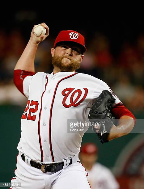 Pitcher Drew Storen of the Washington Nationals throws to a New York Mets batter in the ninth inning of the Nationals 72 win at Nationals Park on...