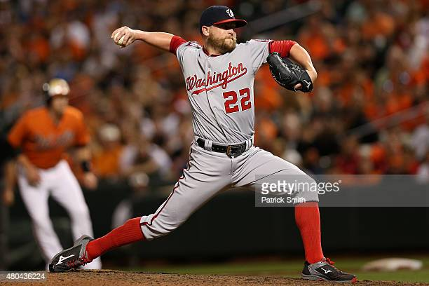 Pitcher Drew Storen of the Washington Nationals works the ninth inning against the Baltimore Orioles at Oriole Park at Camden Yards on July 11 2015...