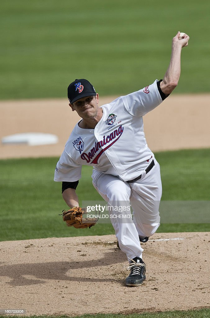 Pitcher Dustin Richardson of Leones del Escogido of Dominican Republic, pitches against Criollos de Caguas of Puerto Rico, during the 2013 Caribbean baseball series, on February 4, 2013, in Hermosillo, Sonora State, in the northern of Mexico. AFP PHOTO/Ronaldo Schemidt