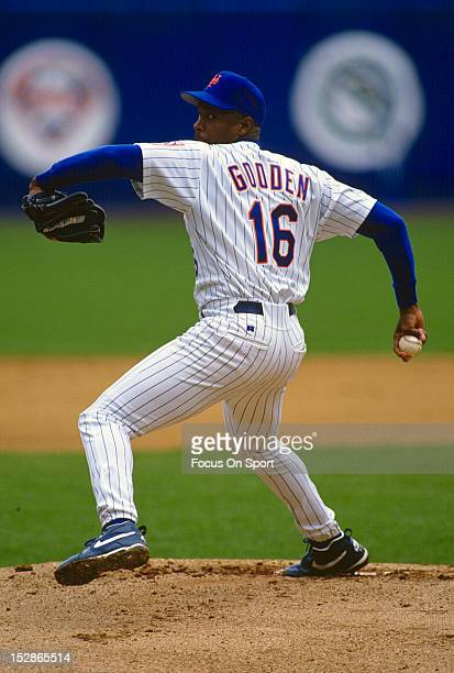 Pitcher Dwight Gooden of the New York Mets pitches during an Major League Baseball game circa 1994 at Shea Stadium in the Queens borough of New York...