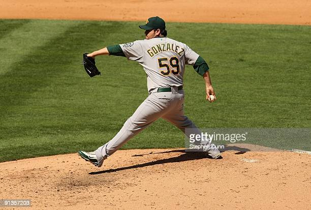 Pitcher Edgar Gonzalez of the Oakland Athletics throws a pitch against the Los Angeles Angels of Anaheim on September 27 2009 at Angel Stadium in...