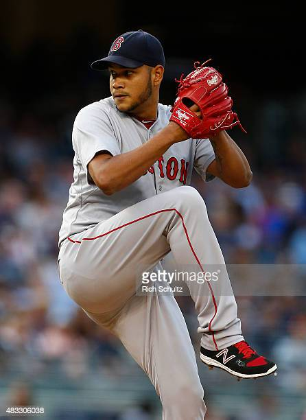 Pitcher Eduardo Rodriguez of the Boston Red Sox delivers a pitch against of the New York Yankees in the first inning during a MLB baseball game at...