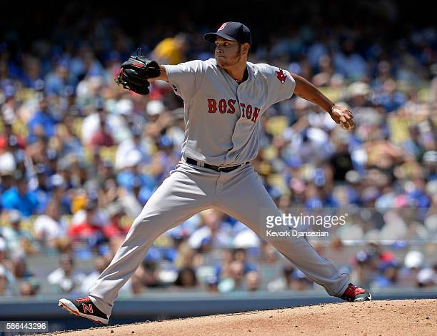 Pitcher Eduardo Rodriguez of the Boston Red Sox throws a pitch against the Los Angeles Dodgers during the second inning of the baseball game at...