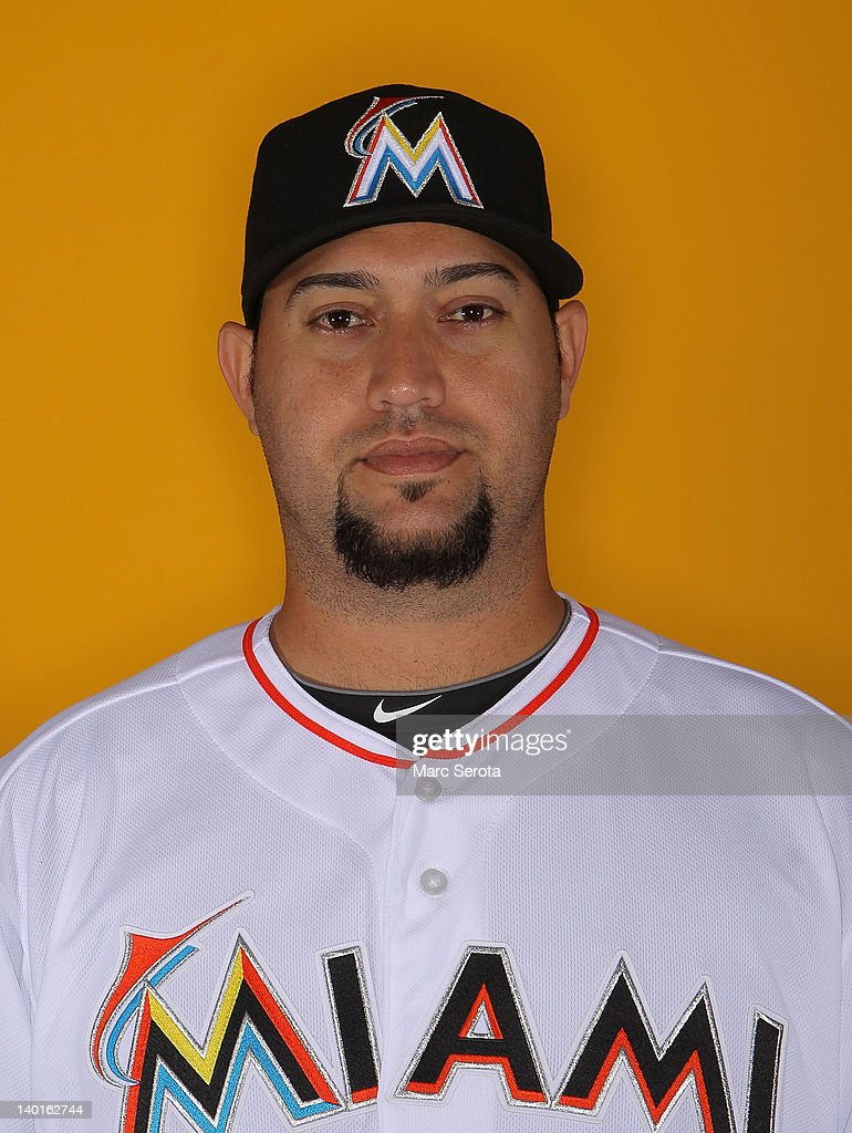 Pitcher Edward Mujica of the Miami Marlins poses for photos during media day on February 27 2012 in Jupiter Florida