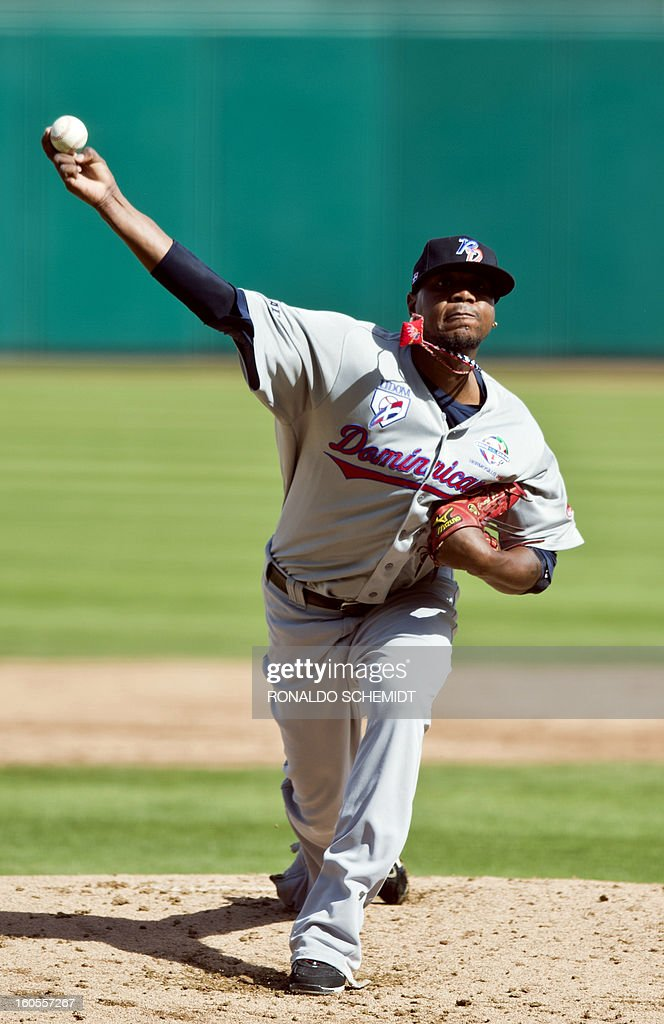 Pitcher Edward Valdes of Leones del Escogido of Dominican Republic pitches against Criollos de Caguas, during the 2013 Baseball Caribbean Series, on February 2, 2013, in Hermosillo, Sonora State, northern Mexico. AFP PHOTO/Ronaldo Schemidt