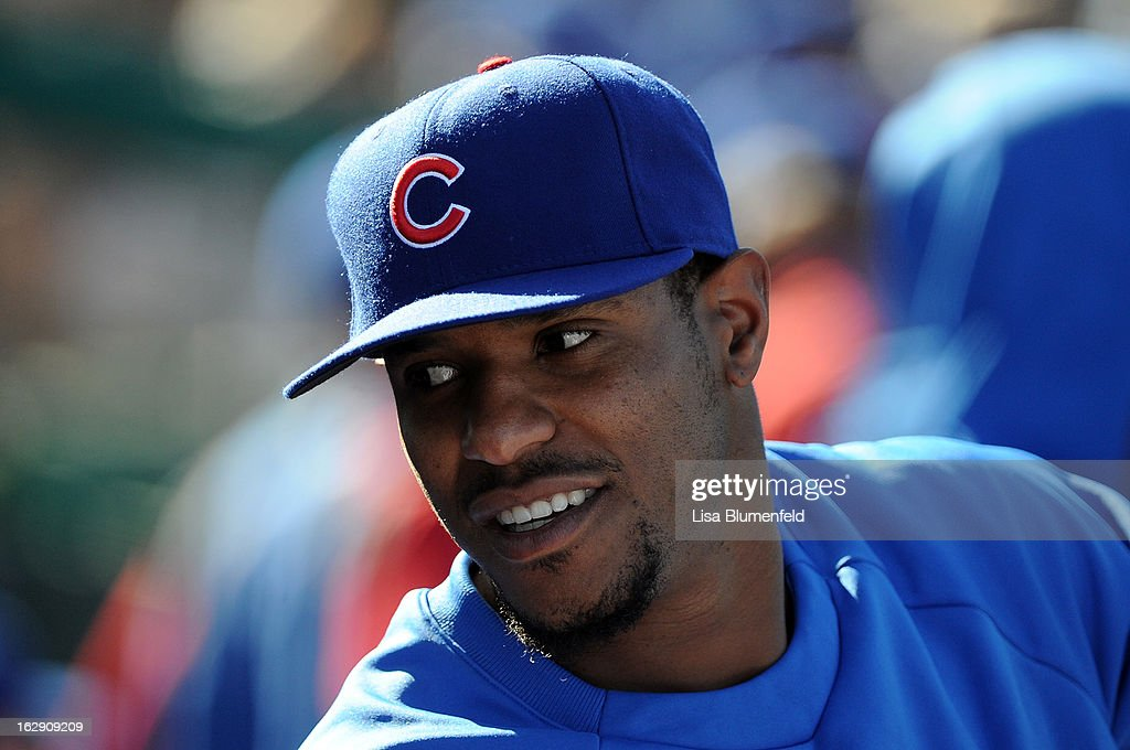 Pitcher <a gi-track='captionPersonalityLinkClicked' href=/galleries/search?phrase=Edwin+Jackson&family=editorial&specificpeople=220506 ng-click='$event.stopPropagation()'>Edwin Jackson</a> of the Chicago Cubs looks on during the game against the Los Angeles Dodgers on February 27, 2013 at HoHoKam Park in Mesa, Arizona.