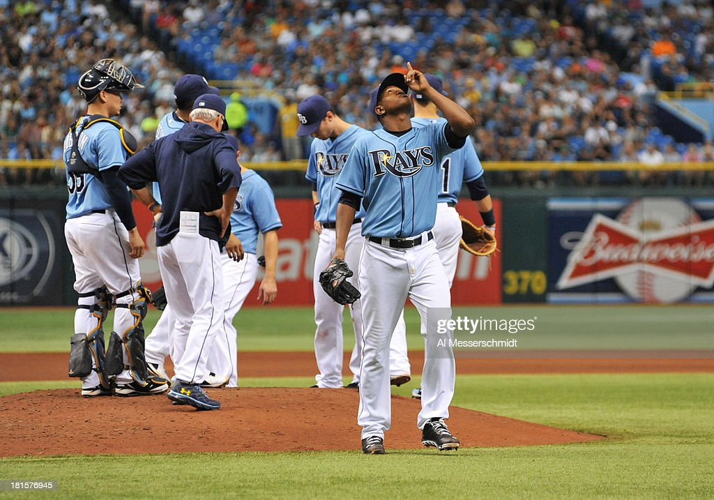 Pitcher Enny Romero #45 of the Tampa Bay Rays leaves the game in the 5th inning against the Baltimore Orioles September 22, 2013 at Tropicana Field in St. Petersburg, Florida. The Rays won 3 - 1.