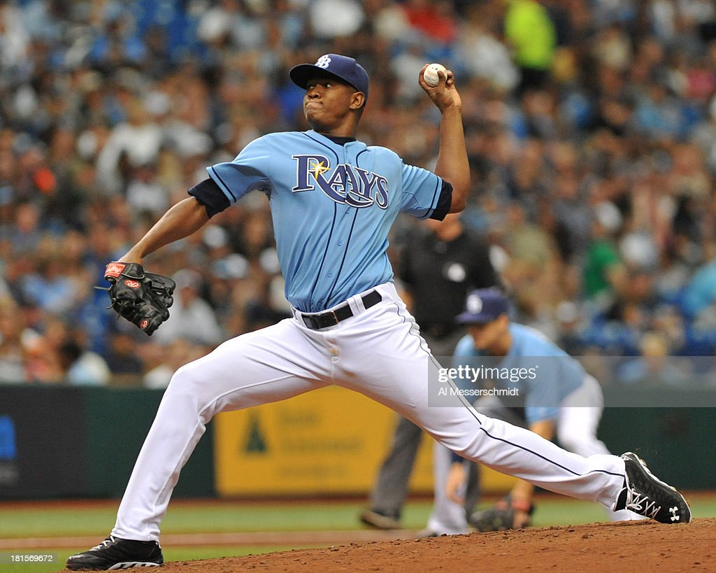 Pitcher Enny Romero #45 of the Tampa Bay Rays starts against the Baltimore Orioles September 22, 2013 at Tropicana Field in St. Petersburg, Florida.