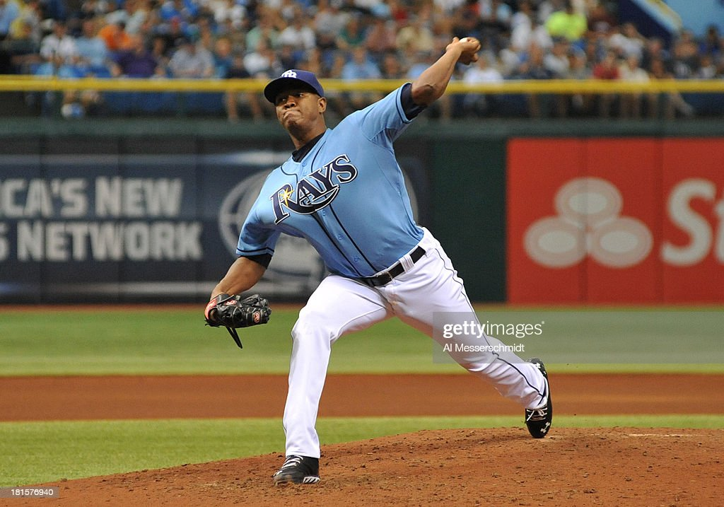Pitcher Enny Romero #45 of the Tampa Bay Rays starts against the Baltimore Orioles September 22, 2013 at Tropicana Field in St. Petersburg, Florida. The Rays won 3 - 1.
