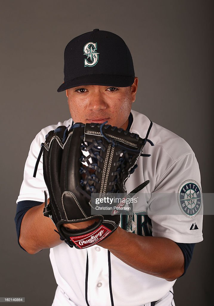 Pitcher Erasmo Ramirez #50 of the Seattle Mariners poses for a portrait during spring training photo day at Peoria Stadium on February 19, 2013 in Peoria, Arizona.