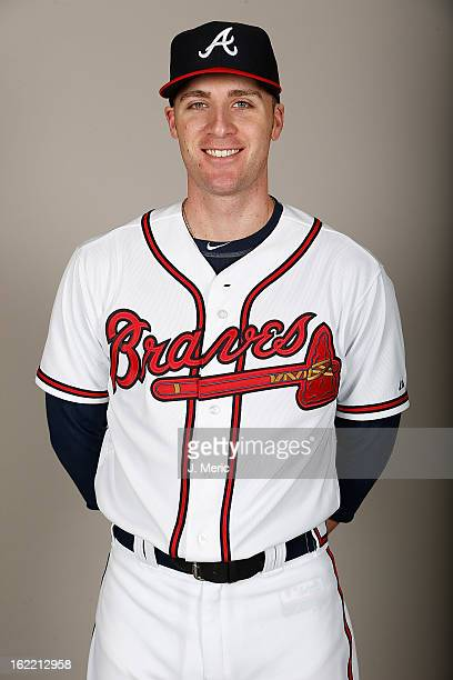 Pitcher Eric O'Flaherty of the Atlanta Braves poses for a photo during photo day at Champion Stadium at the ESPN Wide World of Sports Complex at Walt...