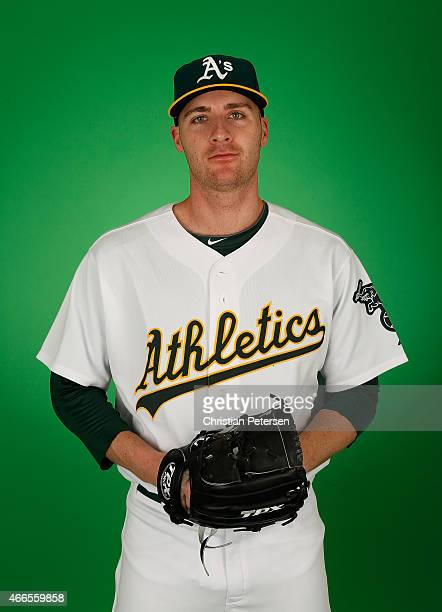 Pitcher Eric O'Flaherty of the Oakland Athletics poses for a portrait during the spring training photo day at HoHoKam Stadium on February 28 2015 in...