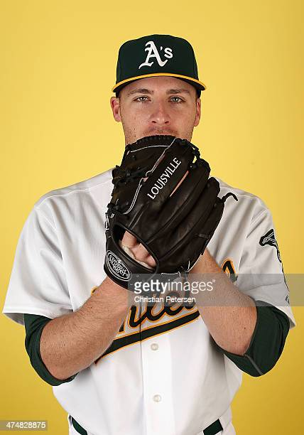 Pitcher Eric O'Flaherty of the Oakland Athletics poses for a portrait during the spring training photo day at Phoenix Municipal Stadium on February...