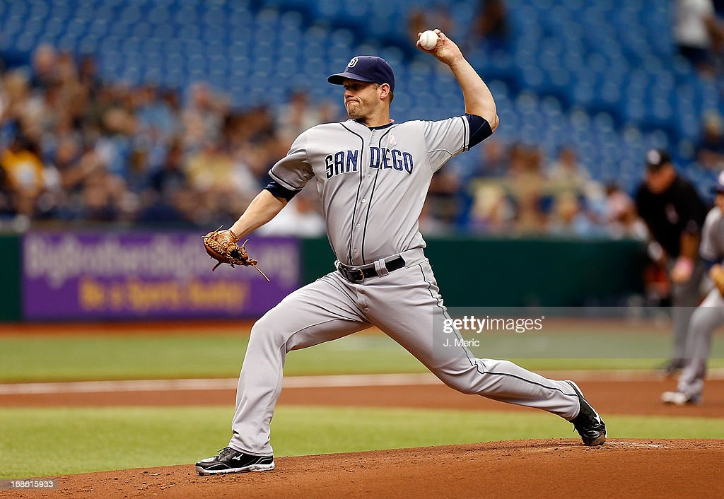 Pitcher Eric Stults #53 of the San Diego Padres pitches against the Tampa Bay Rays during the game at Tropicana Field on May 12, 2013 in St. Petersburg, Florida.