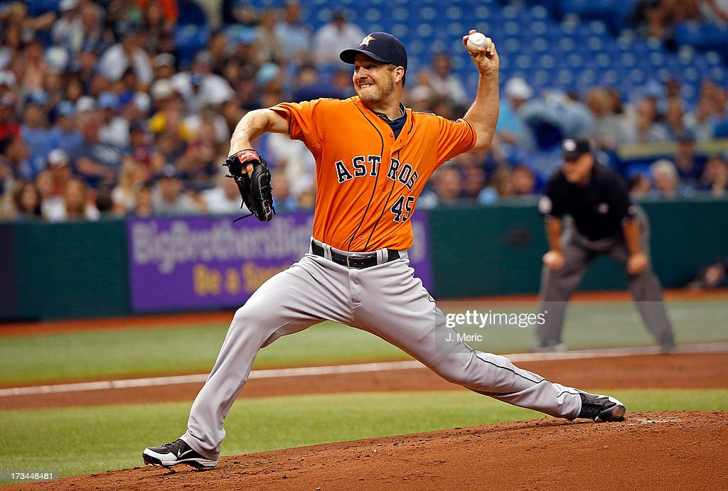 Pitcher Erik Bedard #45 of the Houston Astros pitches against the Tampa Bay Rays during the game at Tropicana Field on July 14, 2013 in St. Petersburg, Florida.