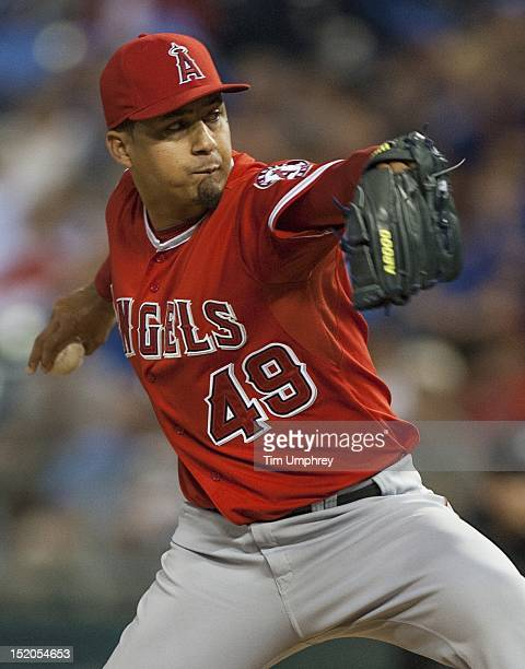 Pitcher Ernesto Frieri of the Los Angeles Angels of Anaheim pitches against the Kansas City Royals at Kauffman Stadium on September 15 2012 in Kansas...
