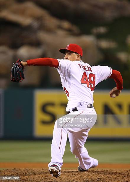 Pitcher Ernesto Frieri of the Los Angeles Angels of Anaheim pitches in the ninth inning during the MLB game against the Chicago White Sox at Angel...