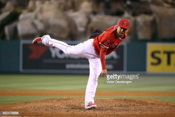 Pitcher Ernesto Frieri of the Los Angeles Angels of Anaheim pitches in the ninth inning against the Oakland Athletics during the MLB game at Angel...